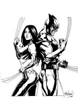 "Wolverine and X-23 ""Back to Back"" by John-Stinsman"