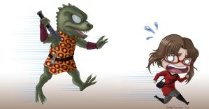 Gorn Chasing Robyn Colored by OtakuEC