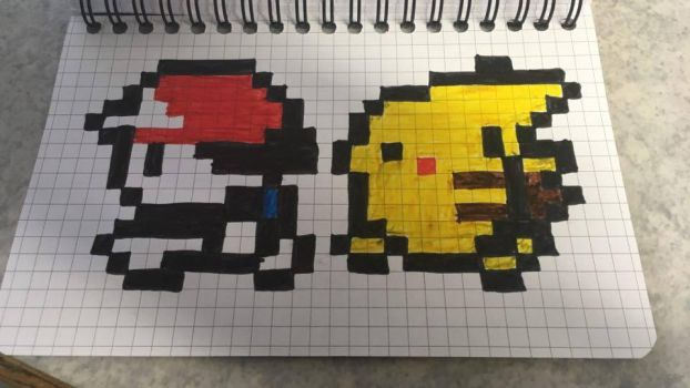 Pixel Art  Red and Pikachu by BrandyKoopa92