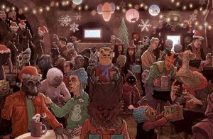 Star Wars Mos Eisley Cantina Scene Christmas Card by McQuade