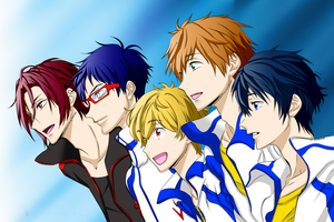 Colored - Iwatobi Swim Club and Rin Matsuoka - by NightrayTsukishiro