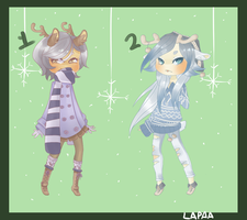 adoptables: winter deer by lapaa
