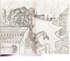 batman and riddler pencils by davechisholm