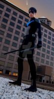 Young Justice Nightwing In The City by FluxTideDesigns