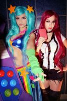 Red Card Katarina and Arcade Sona by dashcosplay