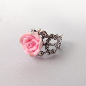 Pink Rose Ring by FayeValentineJewelry