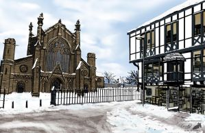 Cathedral and Shop at winter by NuclearJackal