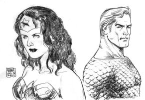 Wonder Woman and Aquaman by edtadeo