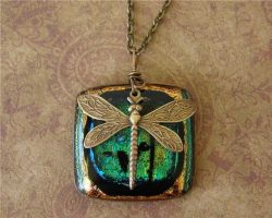 Brass and Glass Dragonfly Pend by FusedElegance