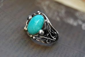 Ring , silver sterling, amazonite by honeypunk