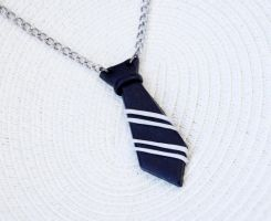 Striped tie necklace by lemondemon