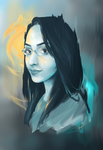 Selfportrait with yellow and blue by lidijaraletic