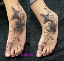 sisters TaT Butterfly Flower by 2Face-Tattoo