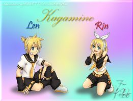 Gift: Kagamine Rin and Len Wallpaper by sasusaku-uchiha0718