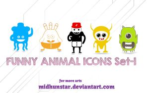 Funny Animals Icon Set-1 by midhunstar