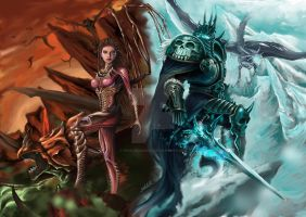 Queen of Blades and Lich King by PoIsOnDaNaUs