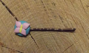 Pink butterfly hair grip by MeticulousBlue