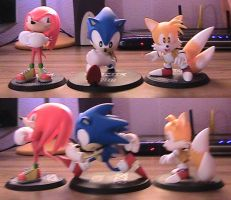 3 figures set - Classic Sonic, Tails and Knuckles by s325Diana