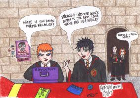 Ron and Harry- Girls Dorm by ratgirl84