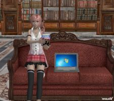 Serah with game and laptop . by White---Devil