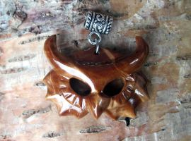 Wooden owl head pendant by JOVictory