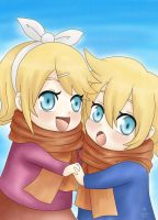 Rin and Len Kagamine : a winter in nostalgia by LadyGalatee