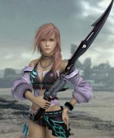 Lightning with Gunblade by Serah-Lightning