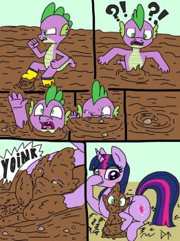 Spike saved from a muddy fate by twilight  by darktenor5