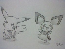 Apron Pikachu and Flower Pichu by BluuKiss