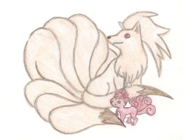 Ninetails and Vulpix by Uxie77