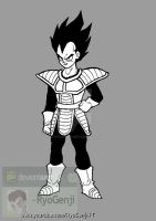 Vegeta, black and white by RyoGenji