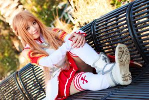 Asuna Yuuki on Bench by firecloak
