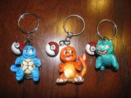 Squirtle, Charmander, and Bulbasaur Keyrings by 0rcinus