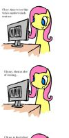 fluttershy watches a video by procaballus