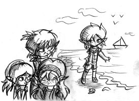 On the Island Shore-sketch- by Jrynkows