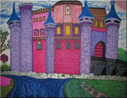 Castle in Pink and Violet by WDWParksGal-Stock