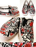 Newspaper Flower Shoes by artsyfartsyness