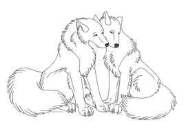 Wolf Couple Lineart by paradox--division