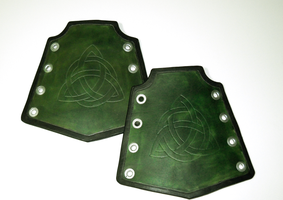 Green Celtic Triquetra Bracers by RuehlLeatherWorks