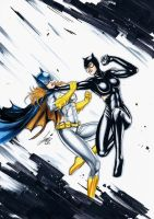 Batgirl and Catwoman Fight! by HM1art
