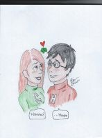 Harry and Ginny: Mistletoe by ClaireW-artist