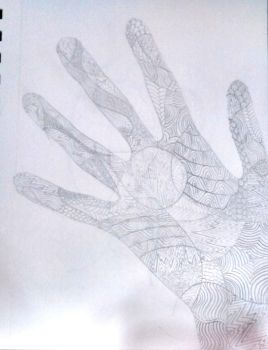 Zentangle hand by Dragonshadow3