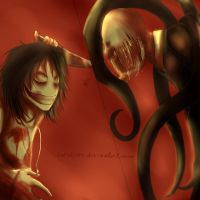 Jeff vs Slenderman -gift- by Carolyan