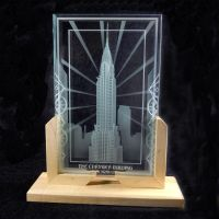 Full view The Chrysler Buidling etched art glass by ImaginedGlass
