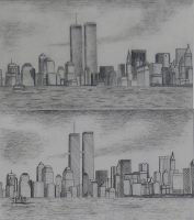 New York Skyline Pre9-11 by Smooth-as-Sandpaper