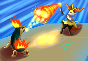 Art Trade: Quilava VS Braixen by Bluekiss131