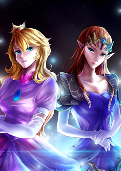 Zelda and Peach crossover [+Speedpaint] by yuuike