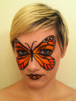 Monarch Butterfly Face Paint by throughtherain67