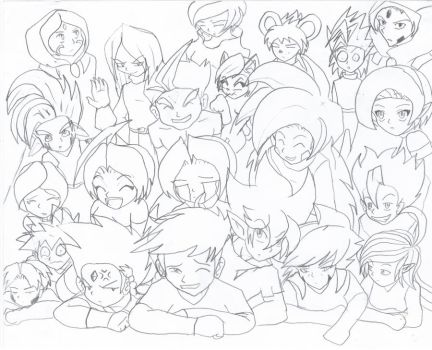 My OCs..nearly all...and me by Kesheo