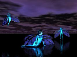 Night Water Fairies by fierymystique